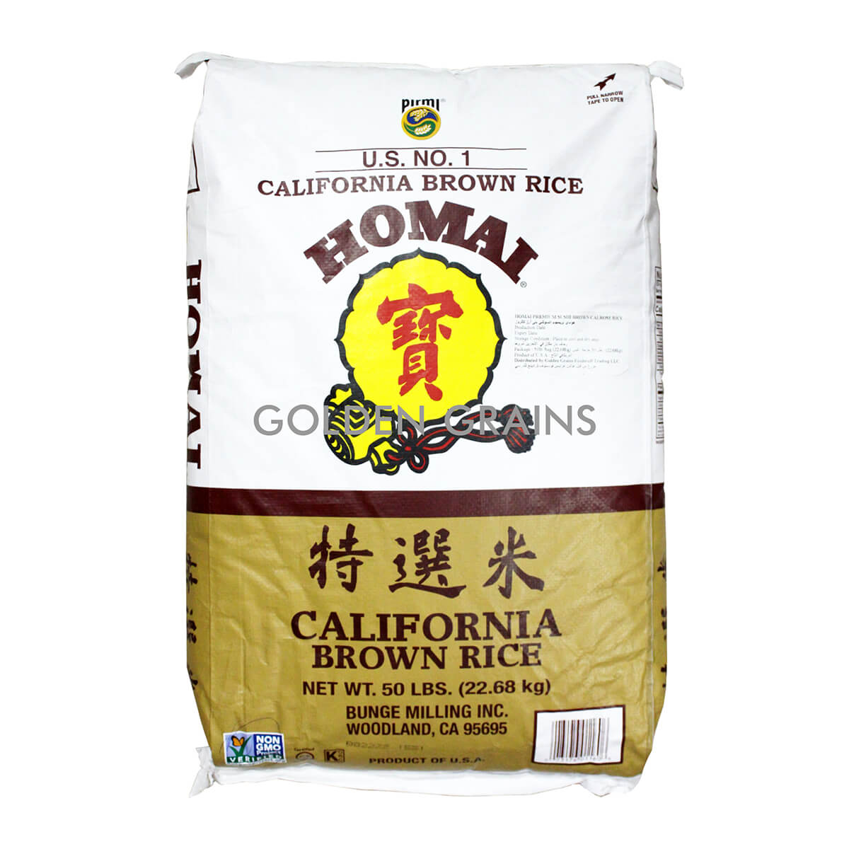Golden Grains Homai - Cali Brown Rice 22.68KG - Front.jpg