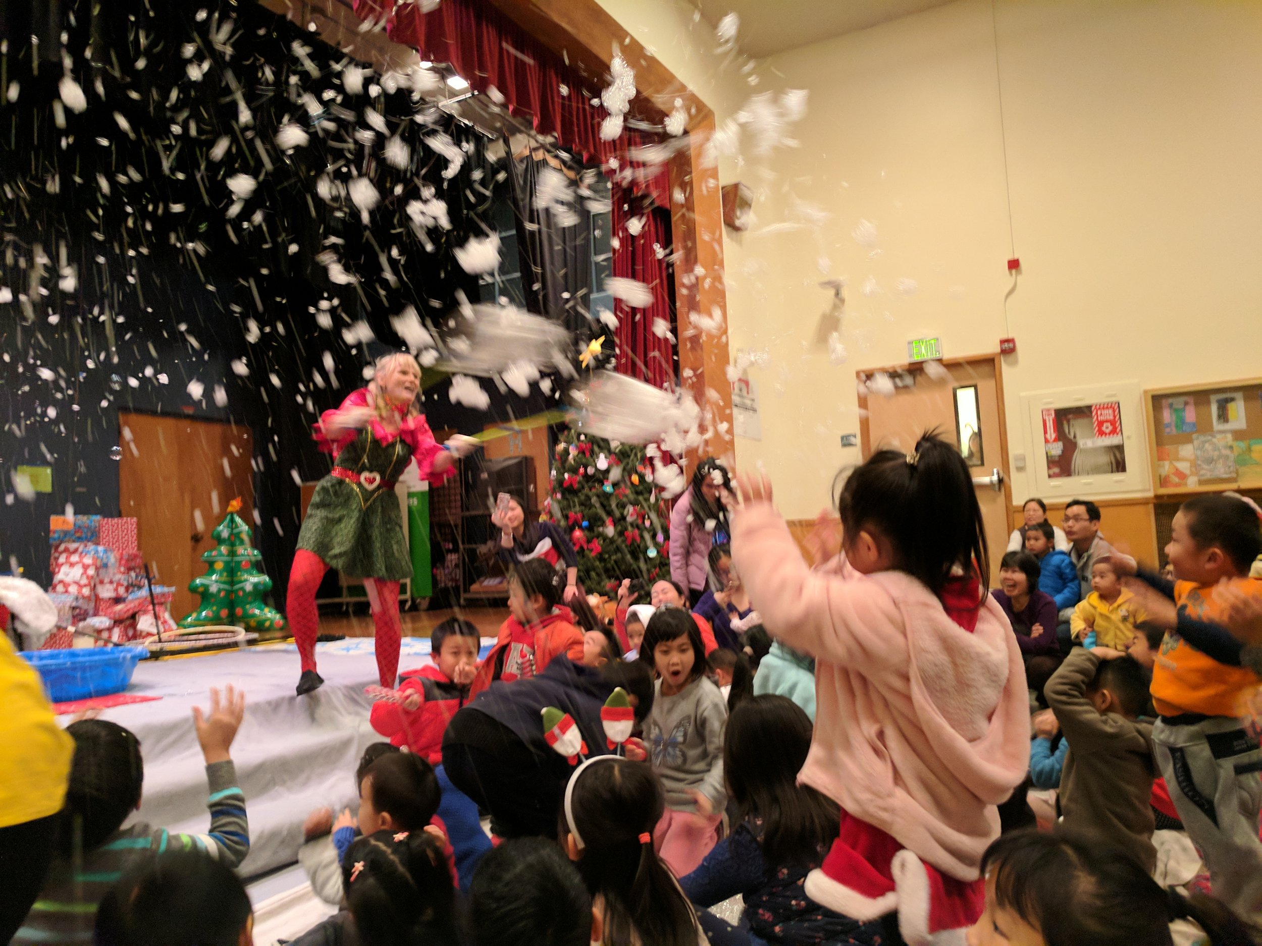 The Bubble Lady delights children with her interactive show.