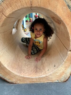 """Children have been crawling into the log and feeling wood through their whole body. Children are seen touching and exploring the cracks in the wooden log and asking investigative questions such as, """"Why is this broken?""""  Children have also used the log as their quite space sitting by themselves, while others have shared the space with peers, giggling, laughing, having a conversation."""