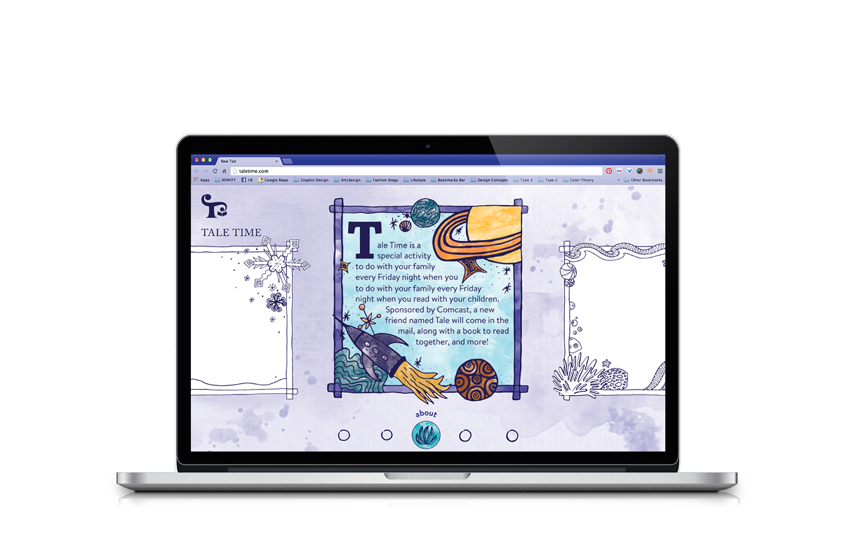 In keeping with the storybook feel of the Tale Time brand, the website is designed like a series of illustrated storybook pages.
