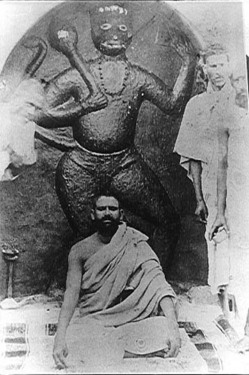 Maharaji young with dark beard & Hanumanji in Neem Karoli V.jpg