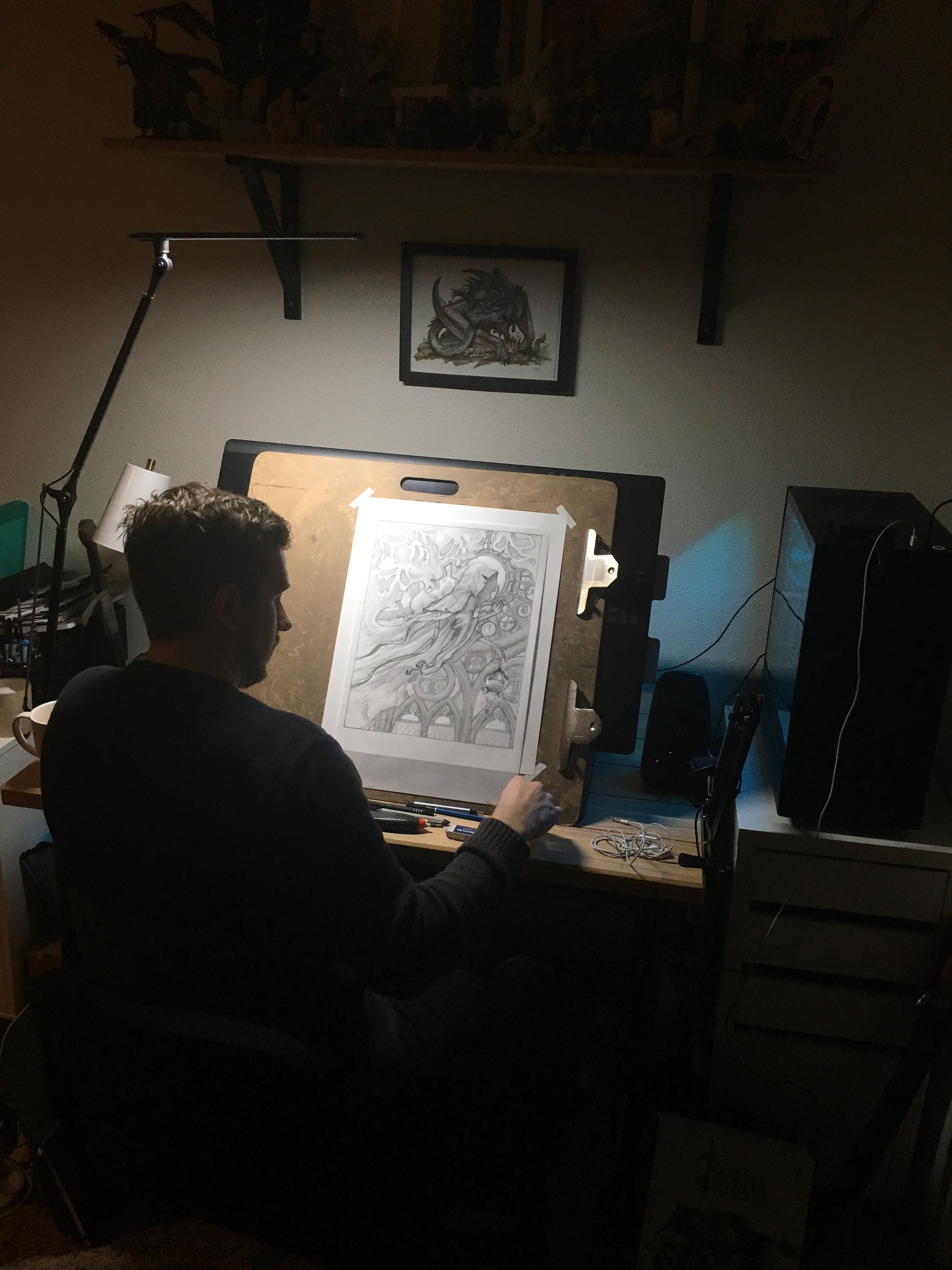 Working on Grim in my studio