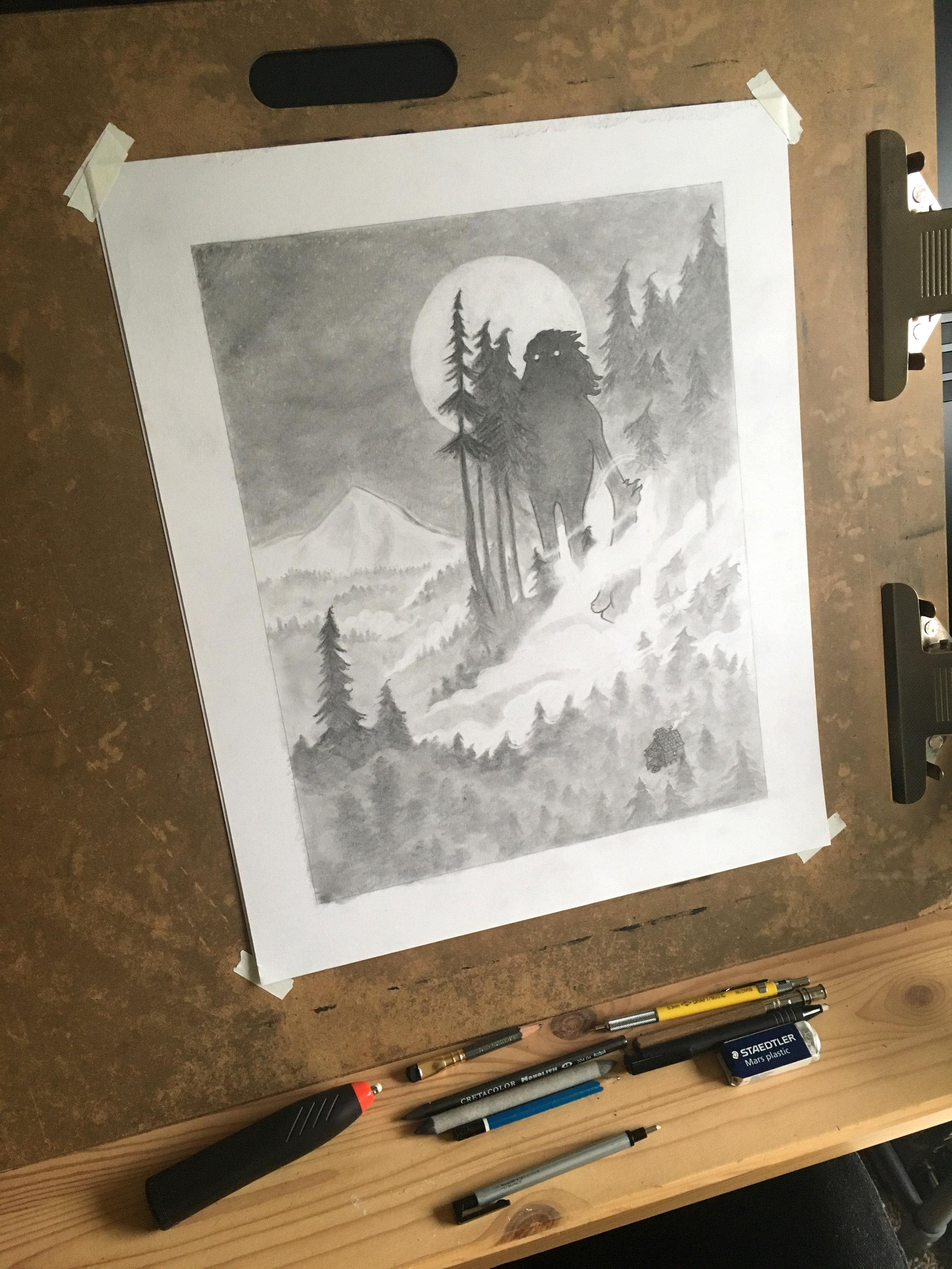 Sasquatch original drawing