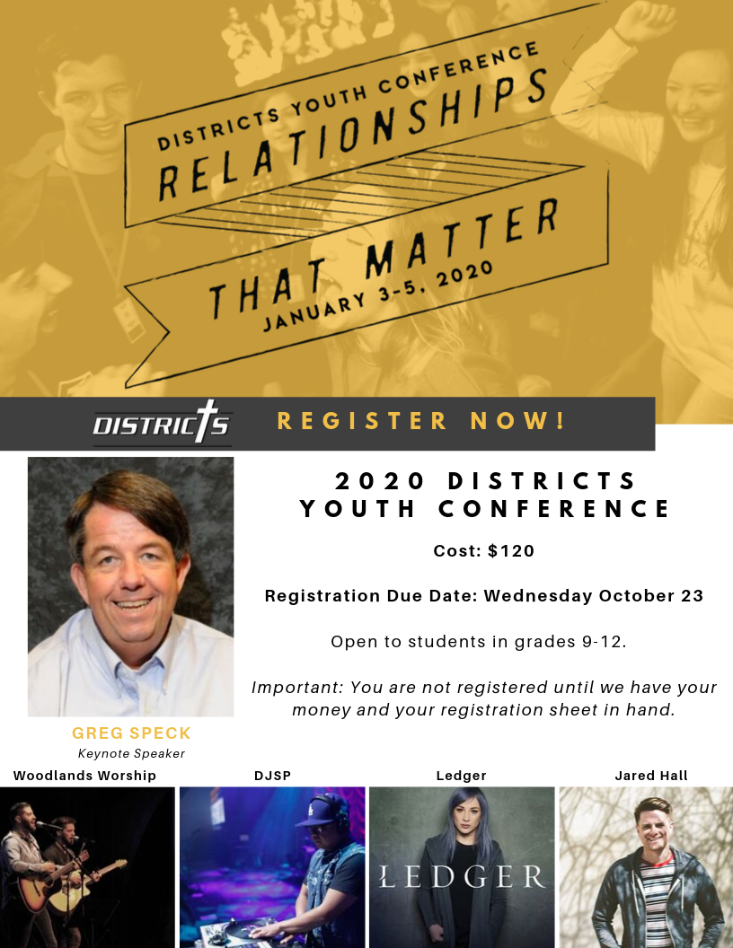 Registration Form - Click Here to download our registration form. (Or come to youth group Wednesday Night and pick one up!)We are doing a pizza fundraiser to help cover costs. Come join us Wednesday nights for more info.