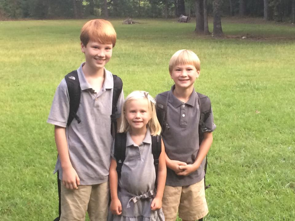 My tribe heading off of Cece's first day of real school
