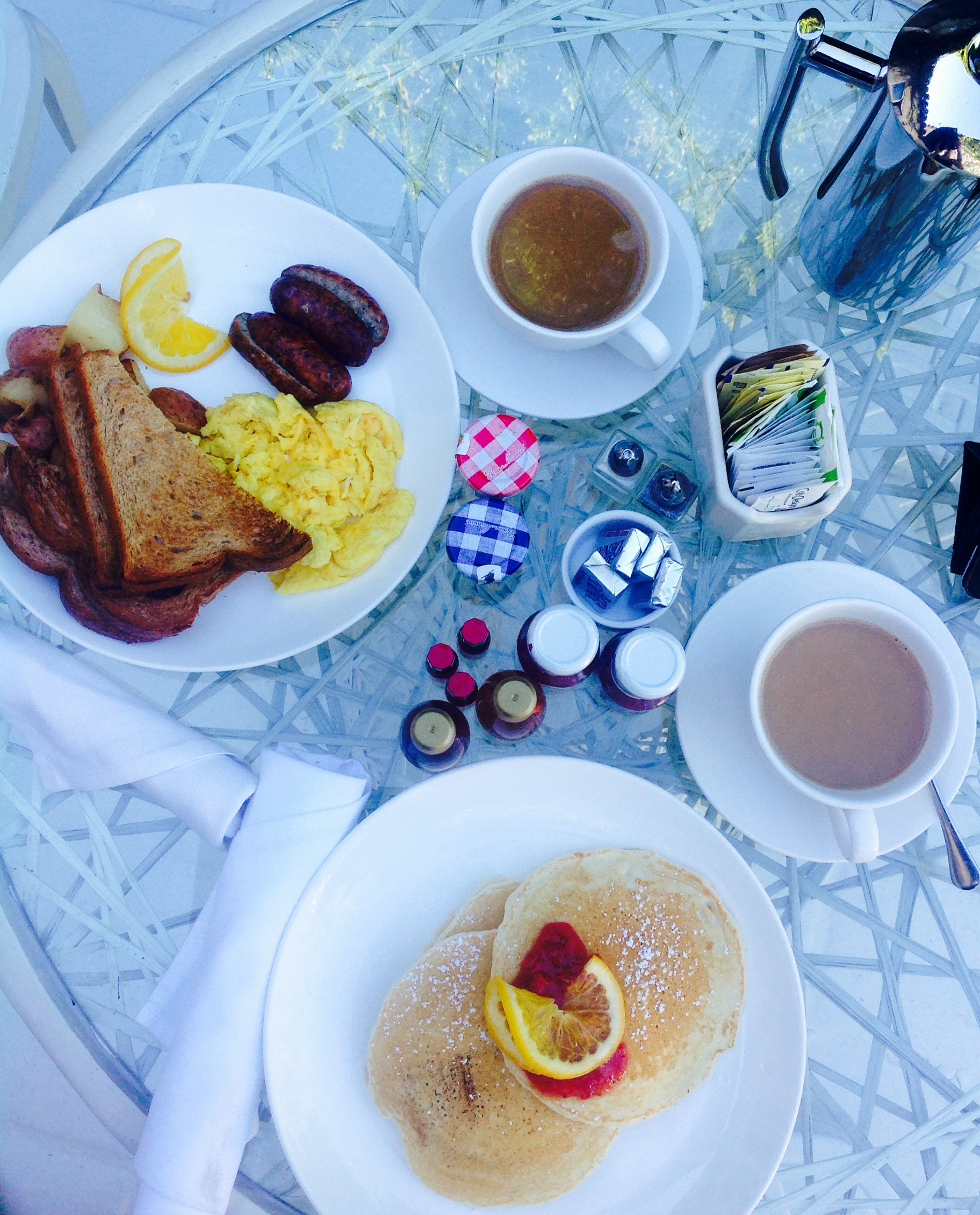 Our delicious breakfast on the patio.
