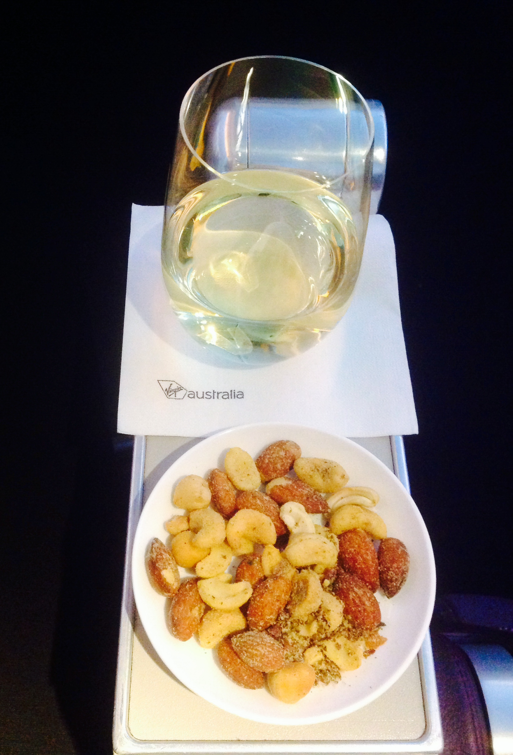 Sav Blanc and Warm Nuts upon boarding