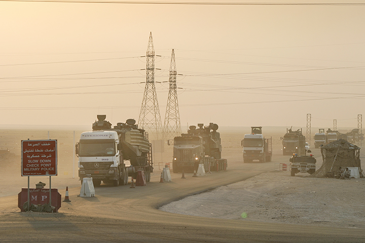 U.S. Marine convoy north from Kuwait to Iraq, July 18, 2004