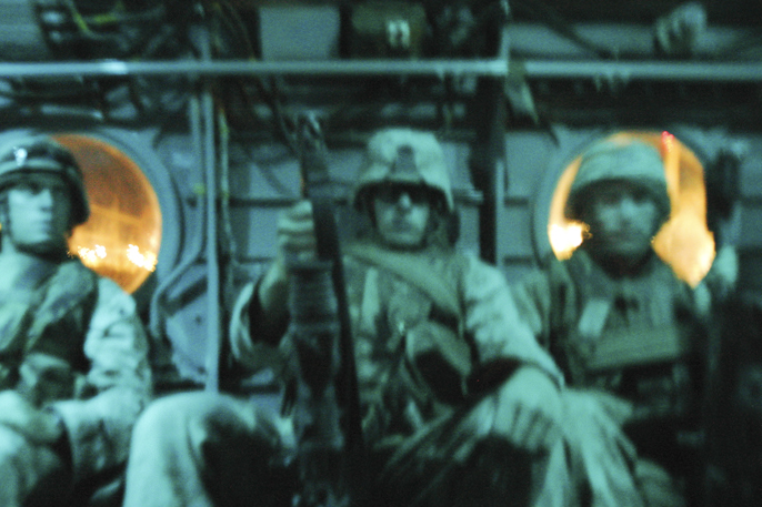 Marines aboard Chinook CH-47 before night mission (scrubbed), FOB Iskan, August 7, 2004