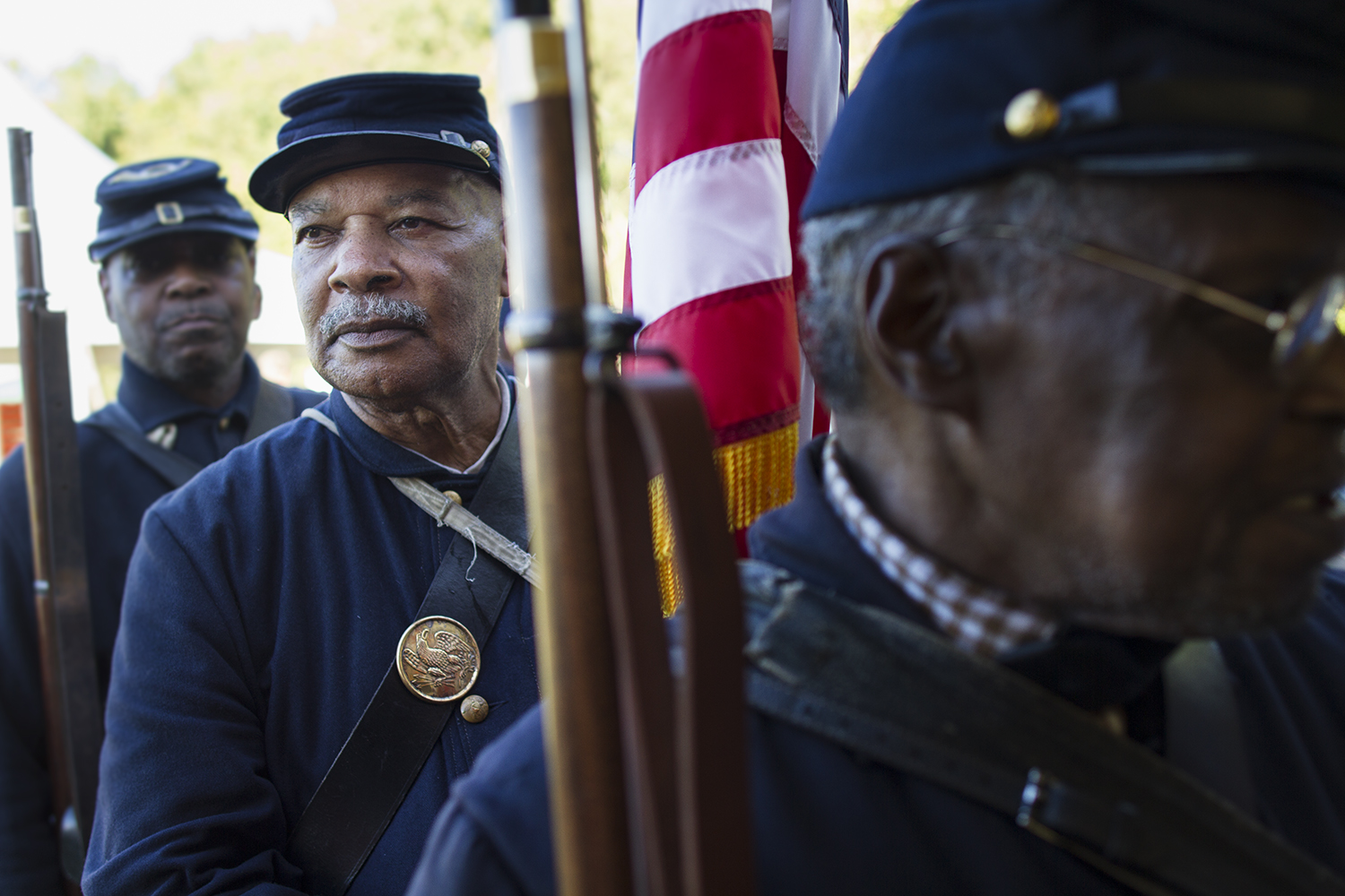 USCT standard bearers line up before ceremony honoring the 16 men — 14 of them African American — awarded the Medal of Honor years after the battle of New Market Heights. Henrico, Co., Virginia, September 2014