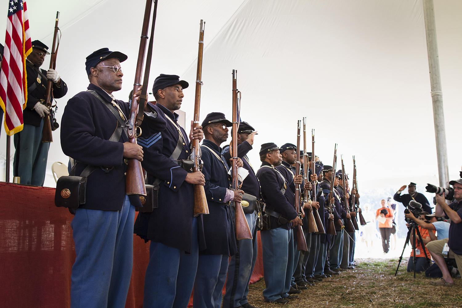 USCT honor guard at a ceremony honoring the 16 men — 14 of them African American — awarded the Medal of Honor years after the battle of New Market Heights. Henrico, Co., Virginia, September 2014