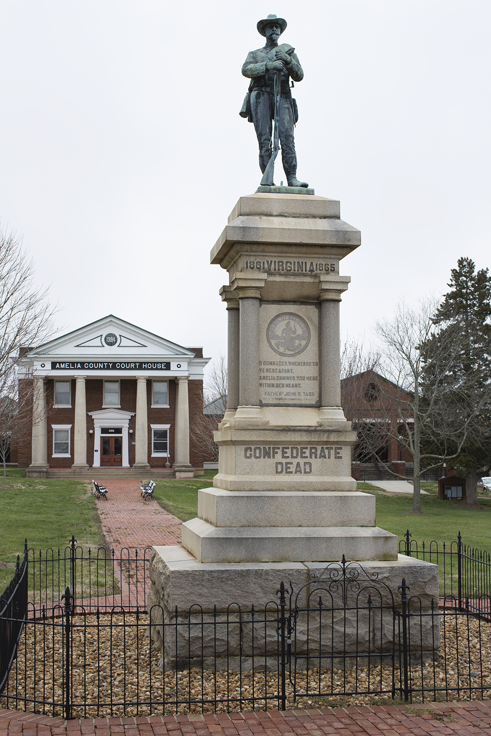 Statue in front of Amelia County Court, Amelia Court House, VA, 2013.
