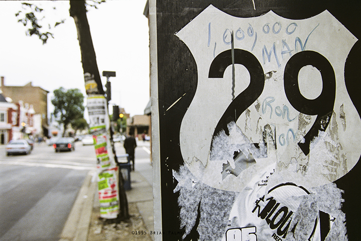Graffito for Million Man March on traffic sign, Washington, DC, October 1995.