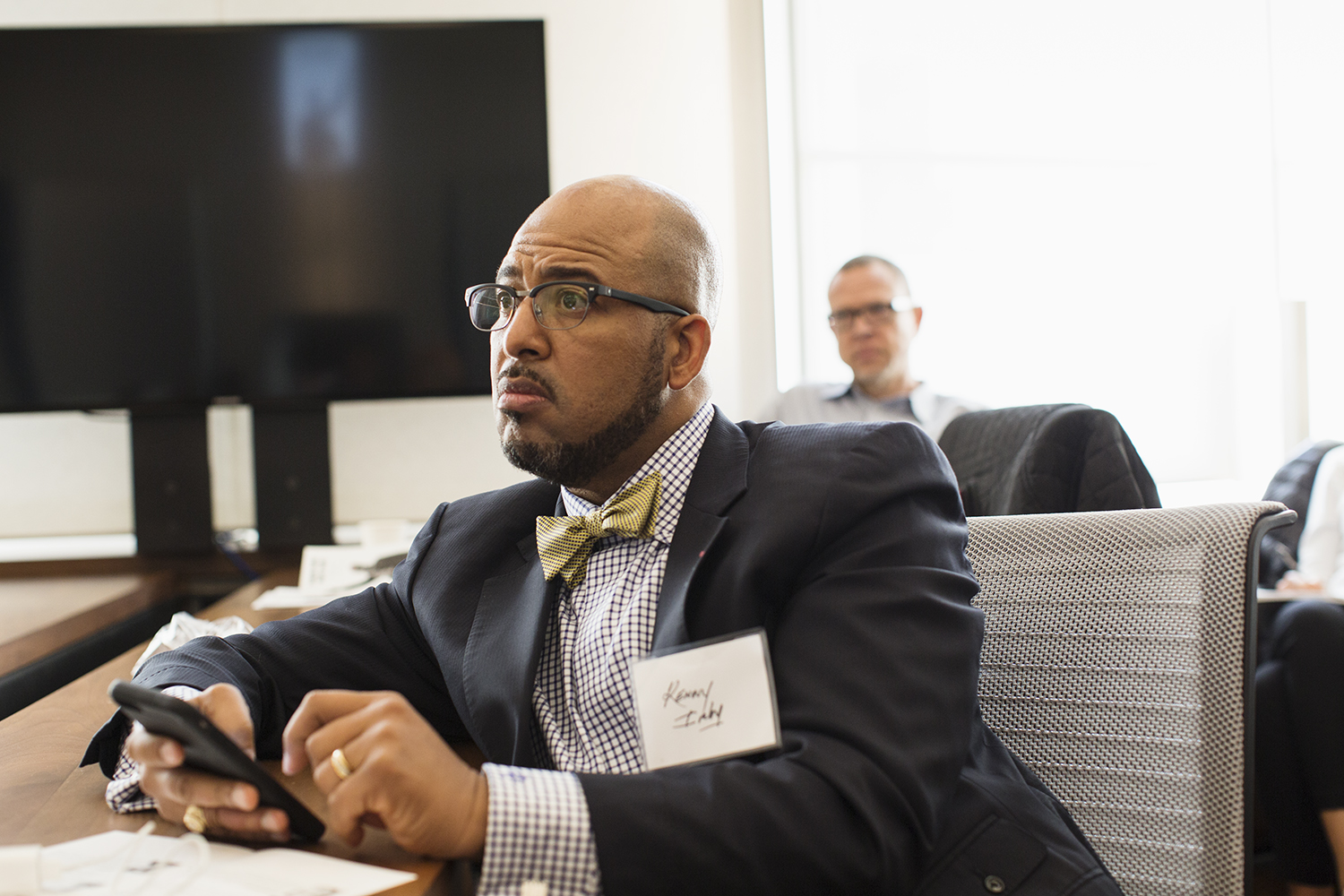Kenny Irby (Poynter Institute) listens during panel at Image Truth/Story Truth conference, Columbia Journalism School, NY, NY, October 16, 2015