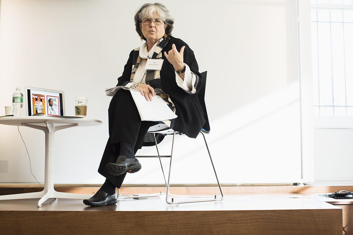 """Anne Wilkes Tucker (founding photographic curator, Museum of Fine Arts, Houston), moderator of """"What is a Photographer? The Future of Photography and the Professional Image-Maker"""" panel, Columbia Journalism School, NY, NY, October 16, 2015"""