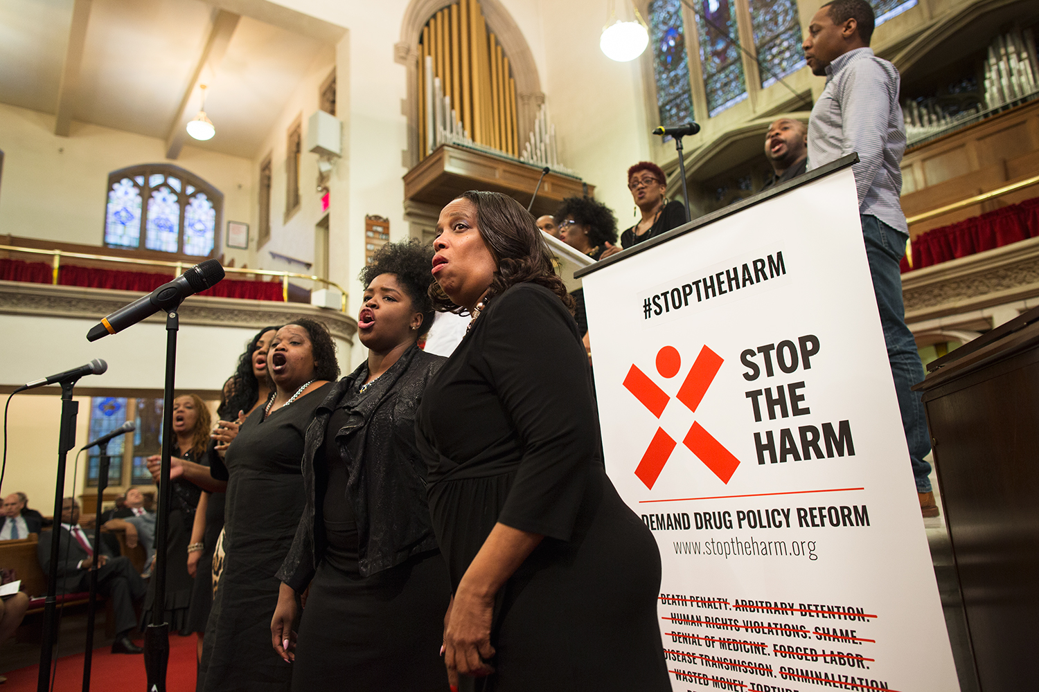 Choir sings during interfaith service at Harlem's historic  Abyssinian Baptist Church  organized by advocacy group  VOCAL-NY  to call for end to the war on drugs on the eve of the United Nations General Assembly Special Session on the world drug problem ( UNGASS ), NY, NY, 2016