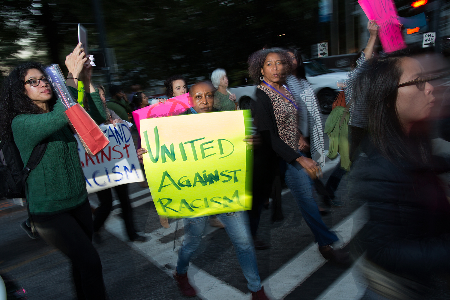 Anti-Trump/projustice protesters march from the Hilton Atlanta, site of Facing Race 2016, to CNN Center, 10 November