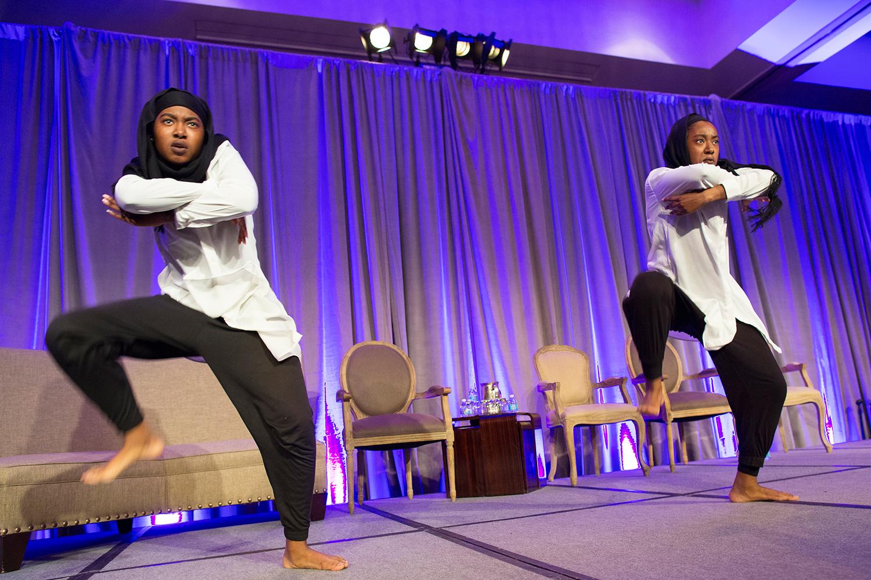 "Al Taw'am (Arabic for ""the twins"") dancers perform at Facing Race 2016, Atlanta, GA, 11 November"