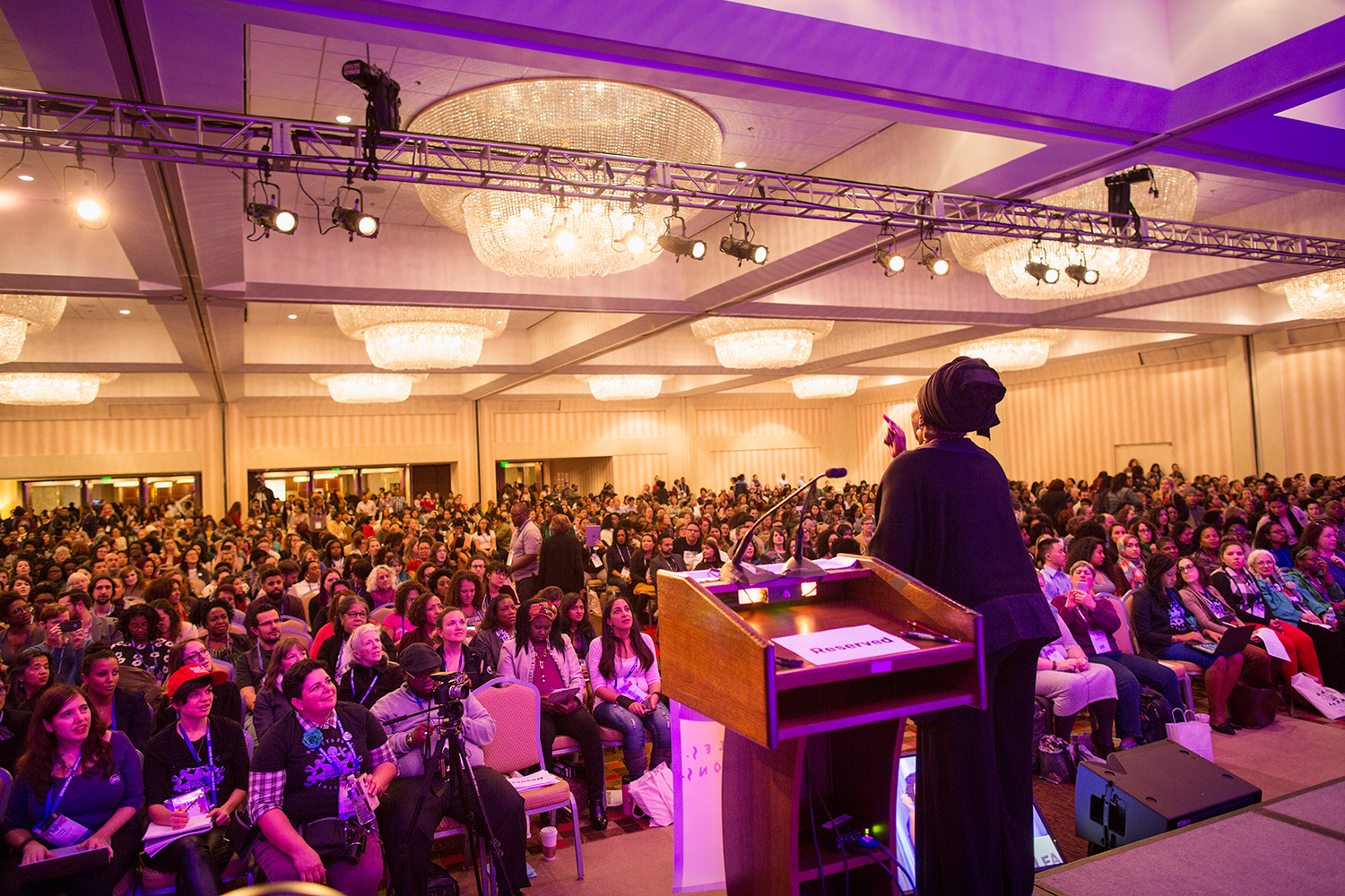 Soyinka Rahim,  conference weaver, moves Facing Race 2016 participants, Atlanta, GA, 11 November