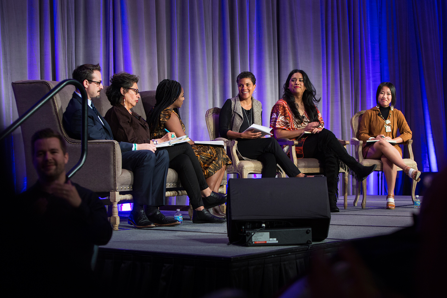 """Multiracial Movements for Black Lives"" panel discussion at Facing Race 2016 with (left to right): Chris Crass ( author and educator ), Judith LeBlanc ( Native Organizers Alliance ), Alicia Garza ( National Domestic Workers Alliance  and  #BlackLivesMatte r), Michelle Alexander ( Human Rights Watch ), Isa Noyola ( Transgender Law Center ), and Zon Moua ( Freedom, Inc .) , Atlanta, GA, 11 November"