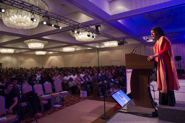 Rinku Sen, executive director of Race Forward, convenor of Facing Race 2016, opens the racial justice conference, Atlanta, GA, 10 November