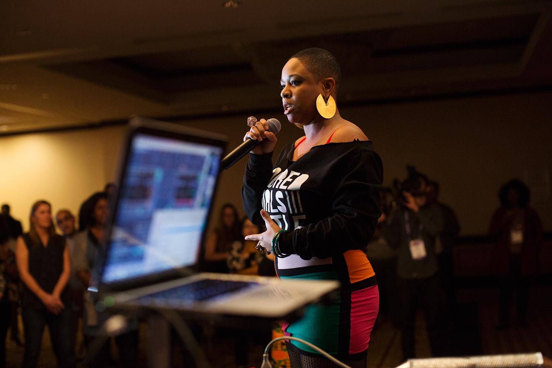 Taja Lindley performs with  Colored Girls Hustle  during a party at Facing Race 2016, Atlanta, GA, 11 November