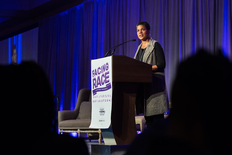 "Michelle Alexander ( The New Jim Crow ) speaks at Facing Race 2016 plenary session, ""Multiracial Movement for Black Lives."" Atlanta, GA, 11 November"