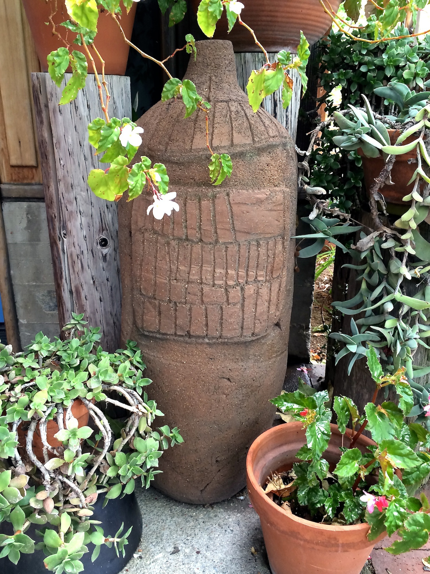 A Bitters' one-of-a-kind pot in the garden.