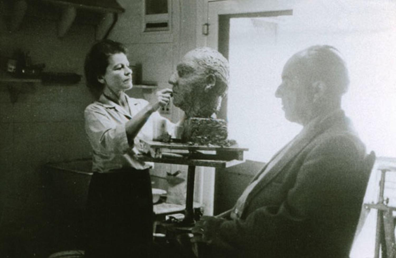 Mahler sculpting husband / composer Ernst Krenek.