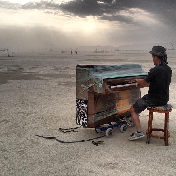 piano at burning man