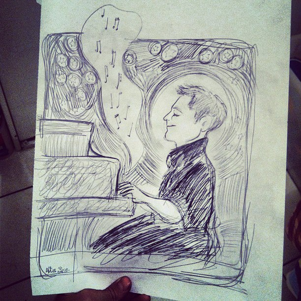 drawing of a pianist