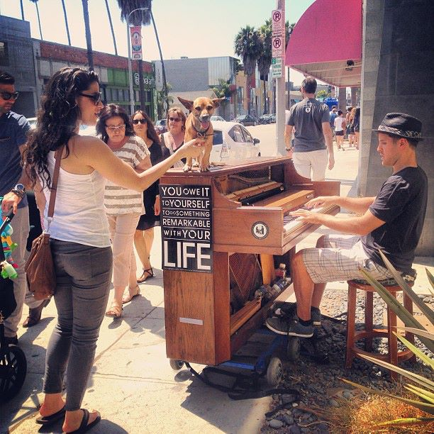 playing piano on the street in Los angeles