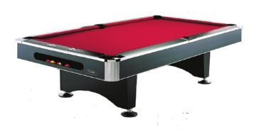 """The Black Pearl   The Black Pearl is an eight foot table which perfect for your game room or """"man-cave"""". The table features high pressure rail caps with MDF rails and K-66 Master Speed Rubber bumpers. Optional ball return system available."""