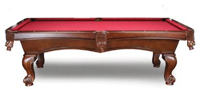 The Nora   The Nora features a double cross beam construction with solid wood legs, rails and body. The Antique Walnut finish and genuine leather pockets gives this table an elegant look