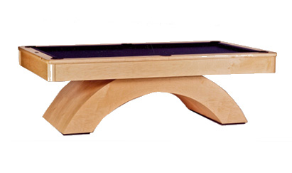 The Vision Rainbow   Straight forward in design and function, the Vision Rainbow is an excellent value and is an affordable modern pool table. The pedestal design lends itself well to a contemporary game room setting. Also available in metal finish.