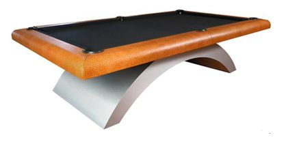 The Halo   The sleek tapered rainbow legs give the Halo its futuristic effect. The curvature and design of the rails eliminate the blind aprons found on today's average pool tables. The rail ensemble can be covered in a variety of Valtekz composite leathers.