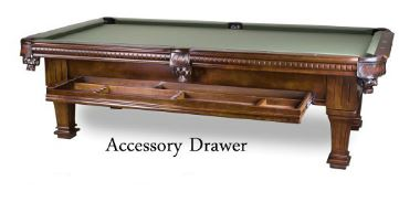 """Drawer Pool Table    The Drawer Pool Table features solid wood legs, rails & body and and accessory drawer for storage. With a double cross beam construction and 1"""" backed K-Pattern slate. Available in Antique Walnut or Mahogany."""