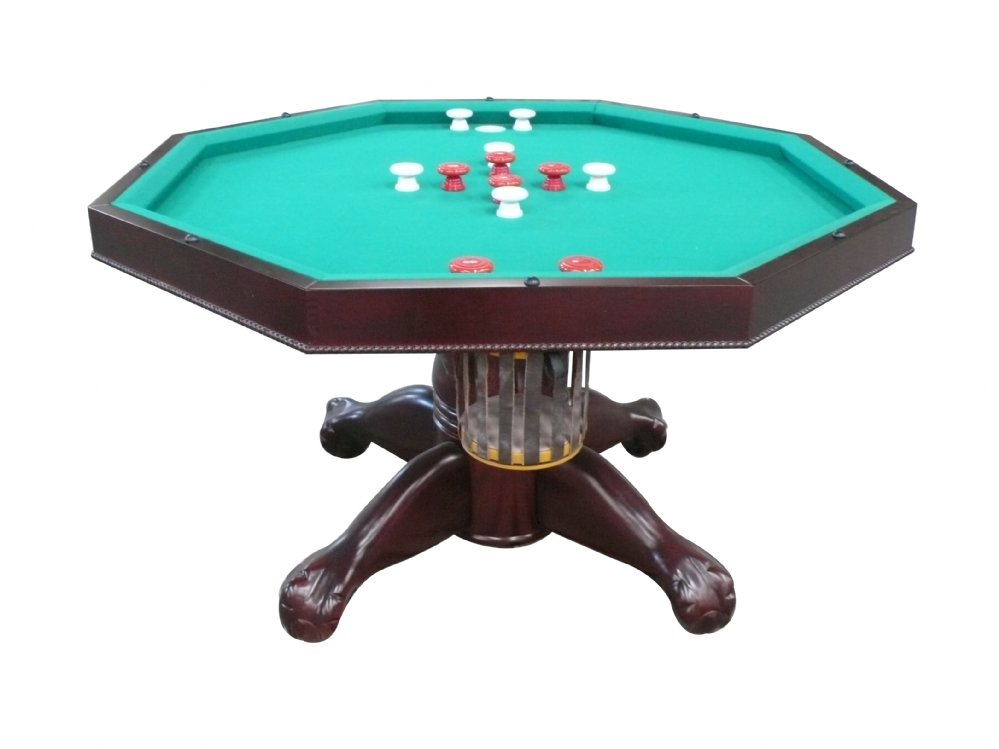 """3 in 1 Table - Octagon 48"""" or 54"""" w/Bumper Pool with SLATE bed in Mahogany"""