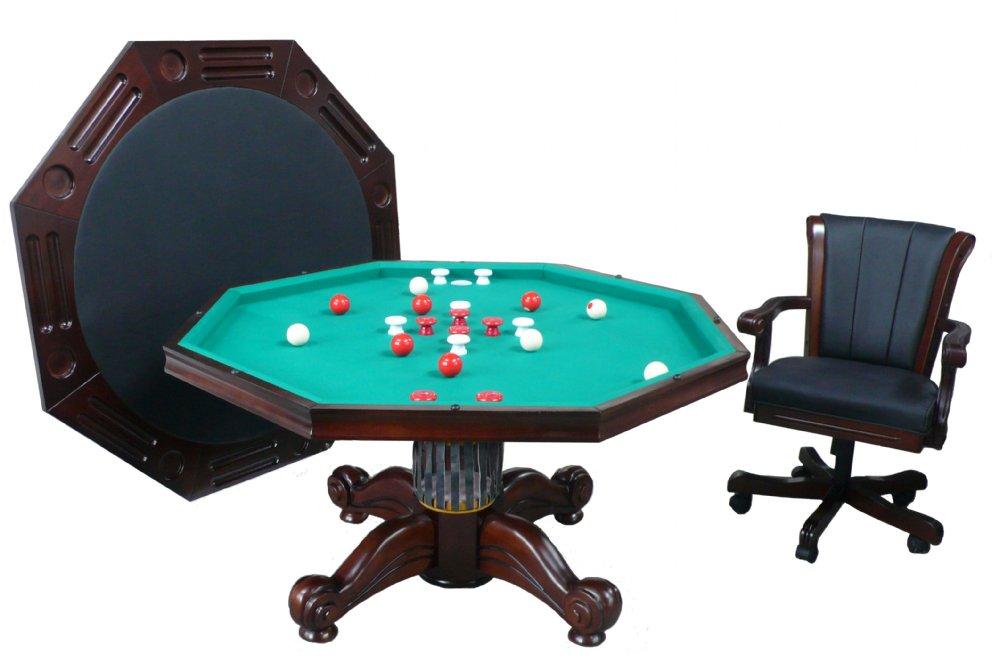 "3 in 1 – 48"" or 54"" Octagon Poker/Bumper/Dining in Dark Walnut"