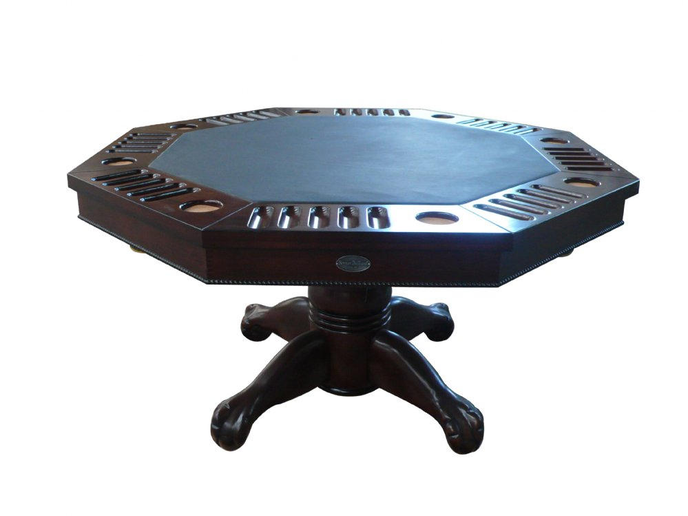 """3 in 1 Table - Octagon 48"""" w/Bumper Pool with SLATE bed in Dark Walnut"""