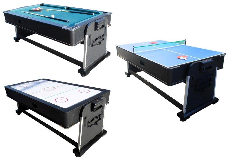 3 in 1 Rotating Multi Game Table - Pool, Air Hockey & Table Tennis