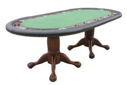 "96"" Oval Holdem Poker Table w/ Optional Dining Top in Antique Walnut"