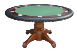"60"" Round Poker Table w/ Optional Dining Top in Antique Walnut"