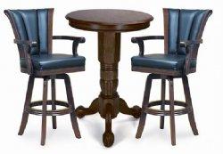 Antique Walnut Pedestal Pub Table Set
