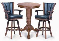 Oak Pedestal Pub Table Set