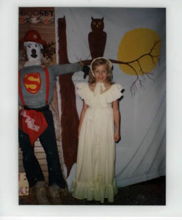 This is the last year she sewed a costume for me. I was angry because I had wanted to be a southern belle with full hoop skirt. She thought I would end up being uncomfortable and unable to sit or treat or treat effectively. I thought I looked like Laura Ingalls Wilder. In a bad way.