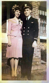 Here's Grandma with Grandpa Ivan before he died. He was a Navy pilot and his plane malfunctioned in the skies of Pensacola, FL. She held it together, never compromised, never remarried, and I am in awe of her for that alone. Love you, Grandma.