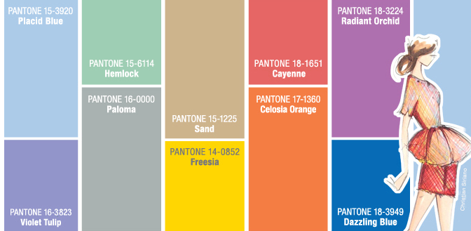 Pantone chart  showing their color of the year, radiant orchid.