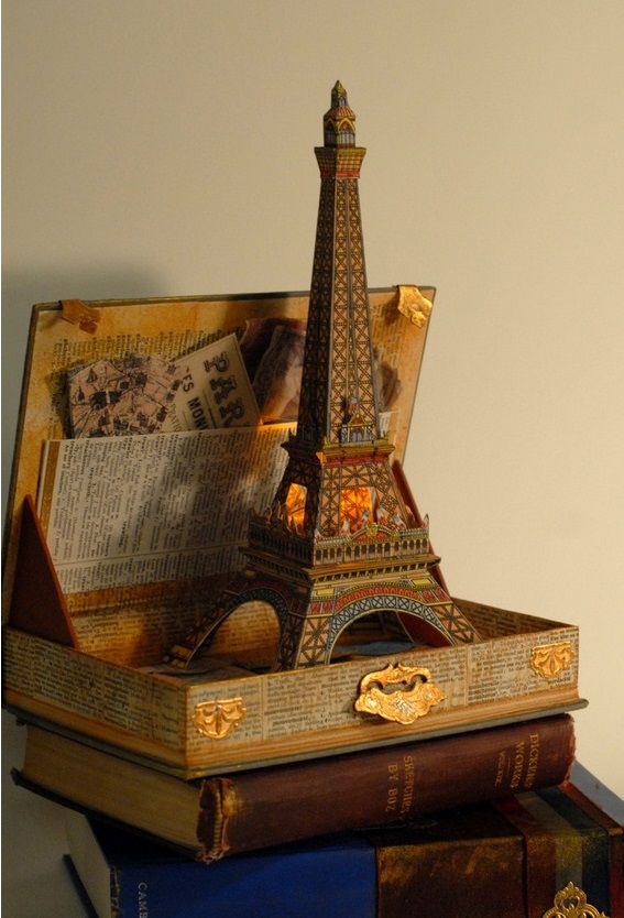 Eiffel Tower Paper Model and Book Art (from  Castle in the Air )