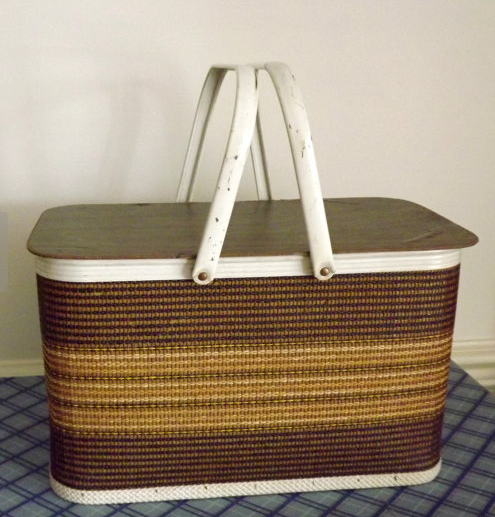 Woven picnic basket from Forsythia Hill on Etsy